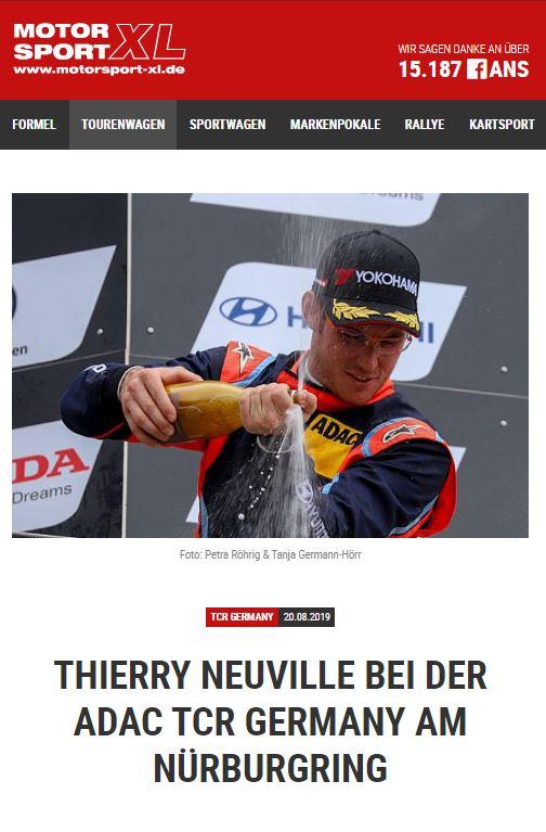Motorsport XL Thierry Neuville bei der ADAC TCR Germany am Nürburgring